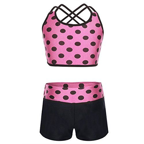 2PCS Kids Girl Tankini Dance Outfit Ballet Sports Gym Crop Tops+Bottoms Costume