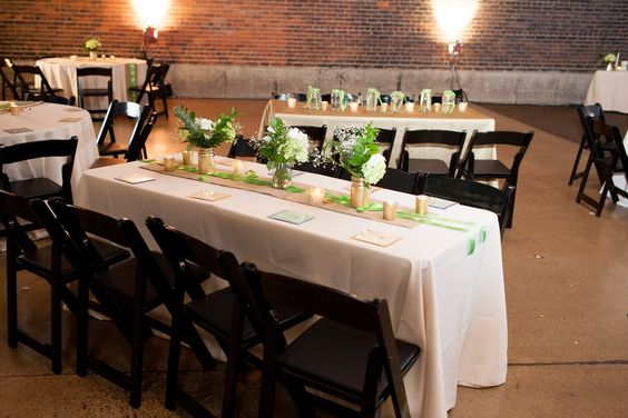 DIY White and Green Wedding Reception Decor