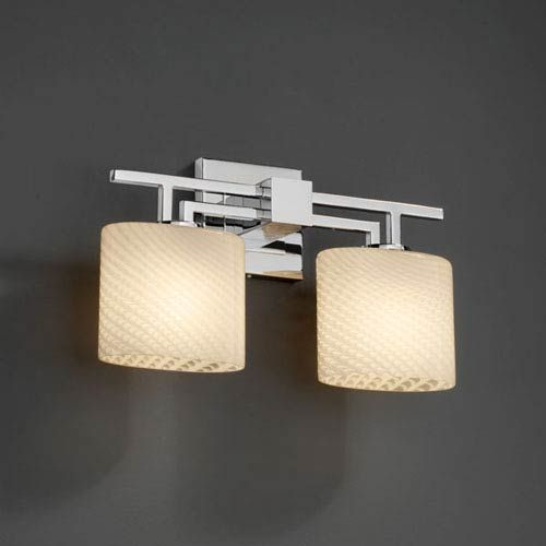 Brushed Nickel Justice Design Group Lighting FSN-8702-40-WEVE-NCKL Square Flared Shade Weave Light Bath Bar