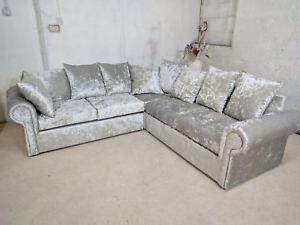 Large Corner Glp Sofa Crushed Velvet Silver Also Available In Different Color Ebay Crushed Velvet Sofa Silver Sofa Living Room Velvet Sofa Sale