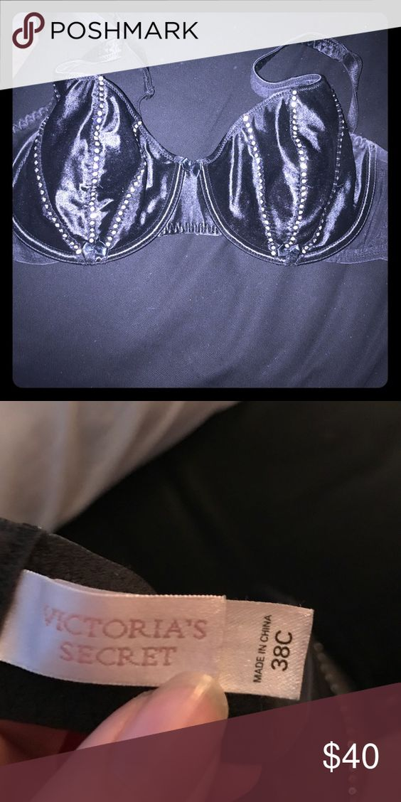 Victoria secret rhinestone bra Super sexy and sultry Victoria secret rhinestone bra--- not padded so gives a very natural sexy look for any women! Only worn a few times-- the inside is lined with a super soft and comfortable silk like material--- size is 38C Victoria's Secret Intimates & Sleepwear Bras