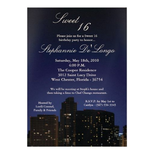 5x7 NY City Lights Sweet 16 Birthday Invitation Sweet 16 birthday