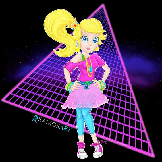 80s Princess Peach Because girls just wanna have fun too and I love the 80s, hiphop, breaking, videogames and oldschool.   #mario #mariobros #supermario #supermariobros #princess #princessPeach #peach #gamer #videogames #hiphop #oldschool #ramosart #sketch #art #drawing #80s #fresh #style #sideponytail #chucks #skirt #star #earrings #bracelets #adorable #geek #geeky #nerdy #cute #girly #totally