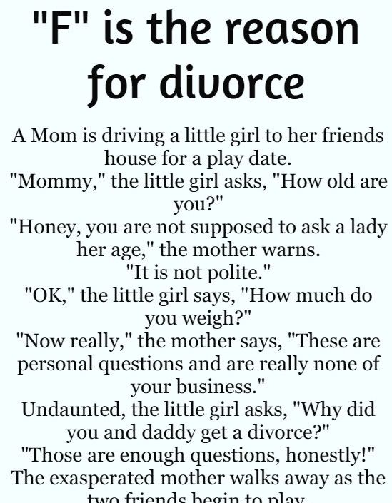 F Is The Reason For Divorce Hilarious Story Funny Marriage Jokes Marriage Jokes Relationship Jokes