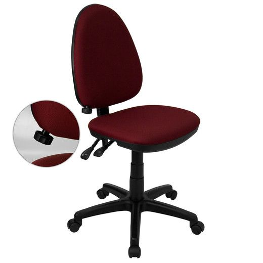 Flash Furniture Mid-Back Burgundy Fabric Multi-Functional Task Chair with Adjustable Lumbar Support WL-A654MG-BY-GG