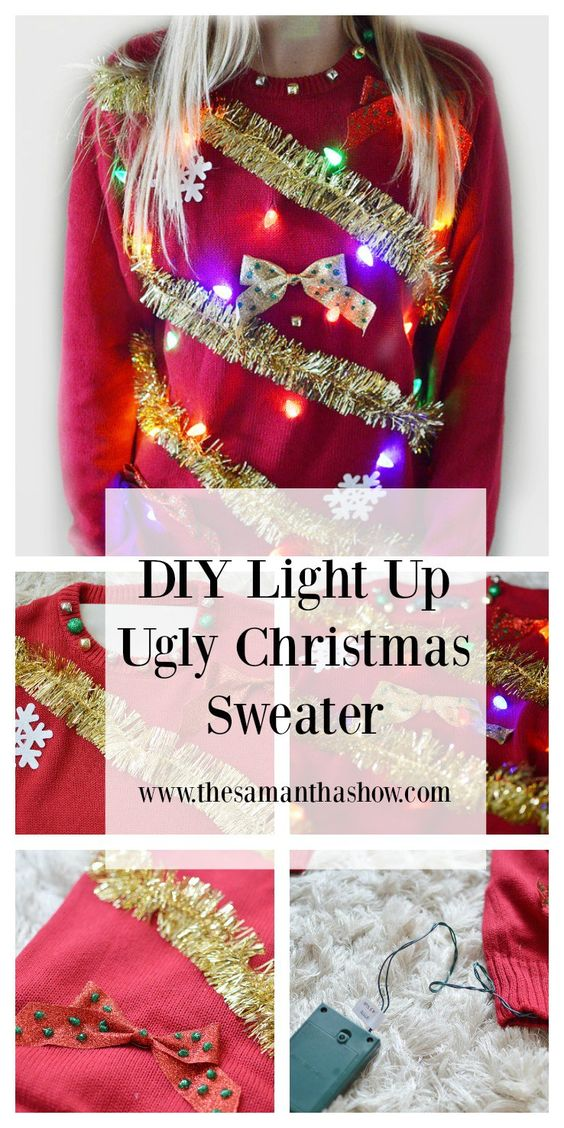 Make your own Ugly Christmas sweater, complete with tinsel, bows, snowflakes and lights!