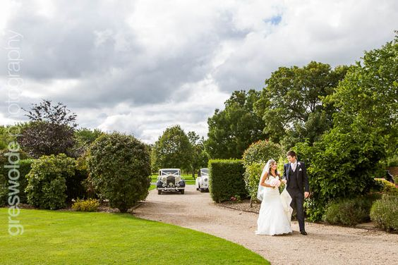 Bride and groom at their wedding at Alrewas Hayes
