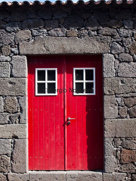 Red Doors Stone : Red door in lava stone house pico azores my world