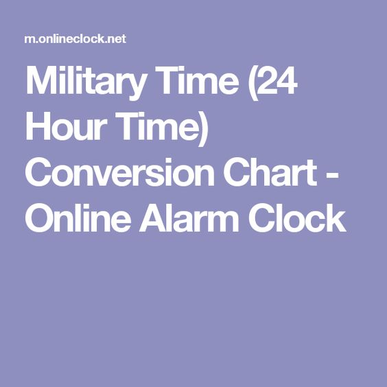 Military Time (24 Hour Time) Conversion Chart - Online Alarm Clock - time conversion chart