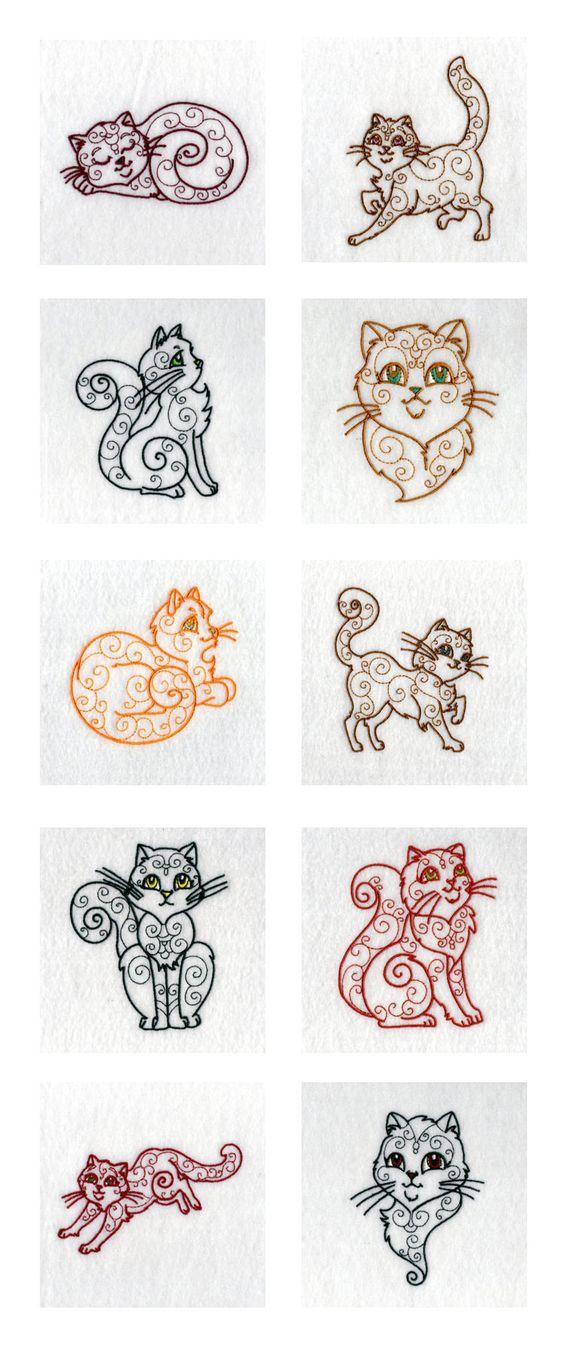 Swirly cats embroidery machine design details tattoo