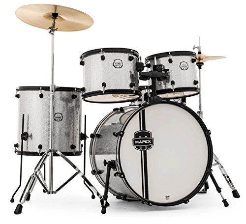 Mapex Vr5254 5 Piece Voyager Drum Set Silver Sparkle With Black