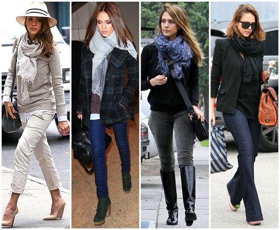 Jessica Alba, a fan of scarves just like I am