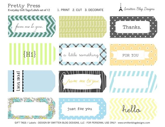 Our Free Pretty Press Everyday tags. One of our most popular!