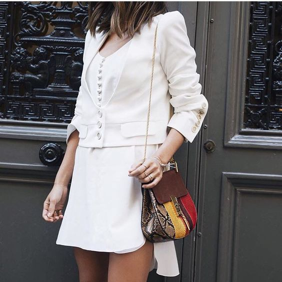 Aimee Song. Songofstyle. White on white. Chloe dres bag