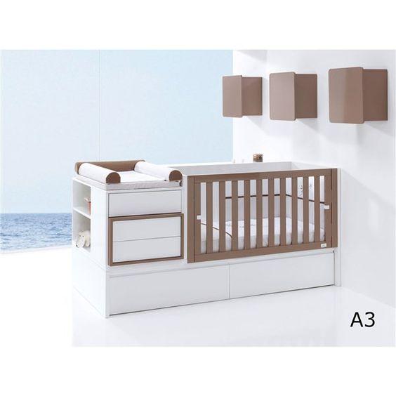 Cuna convertible con cambiador en blanco y marr n - Habitacion convertible bebe ...