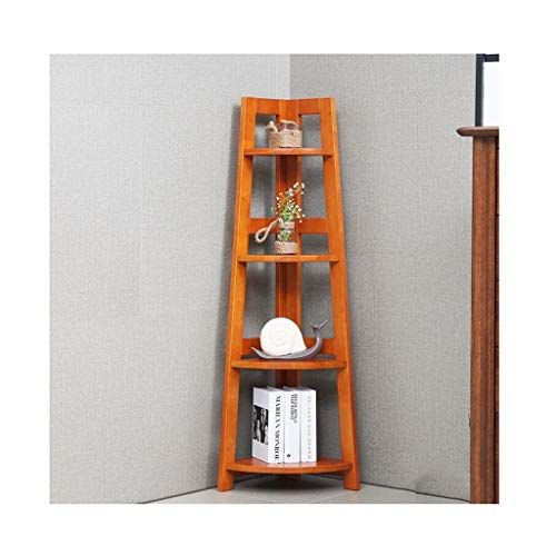 Zk Corner Shelf Four Layer Pure Wood Bookcase Storage Rack Plant