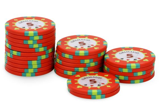 Rouleau de 25 jetons Grimaud PokerMaster 5 - Pokeo.fr -  Recharge de 25 jetons de poker Grimaud PokerMaster 5 rouge, en clay composite 14g.