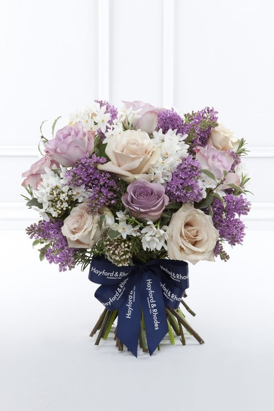 Roses Narcissus Lilacs Light Purple Cream And White Valentines Day 2016 Pink Lilac Rose Bou Lilac Wedding Flowers Purple Wedding Flowers Lilac Bouquet