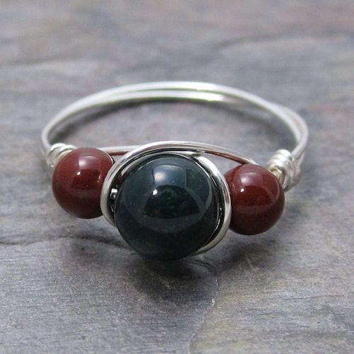 Green and Red Bloodstone Sterling Silver Wire by KimsJewels, $12.00