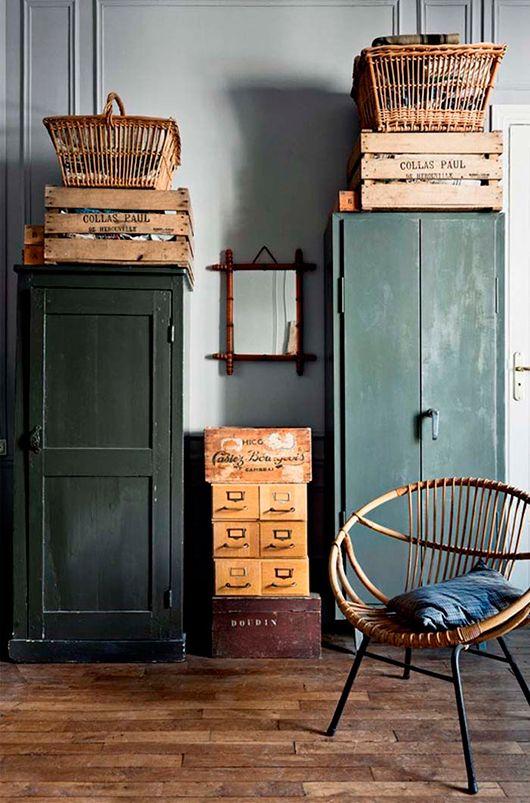 dark green cabinet and woven home furnishings / sfgirlbybay