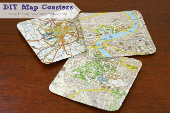 Map Coasters with Mod Podge DIY Tutorial