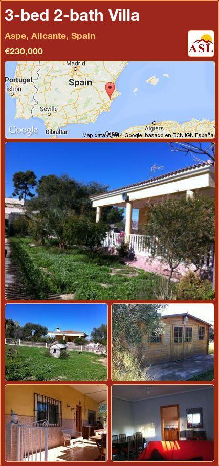 3-bed 2-bath Villa in Aspe, Alicante, Spain ►€230,000 #PropertyForSaleInSpain