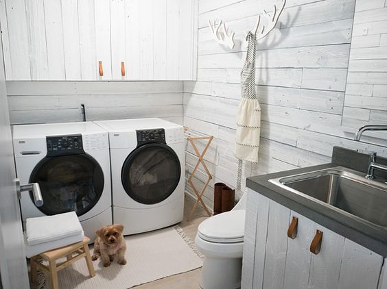 A lovely, white washed & very organized laundry room!