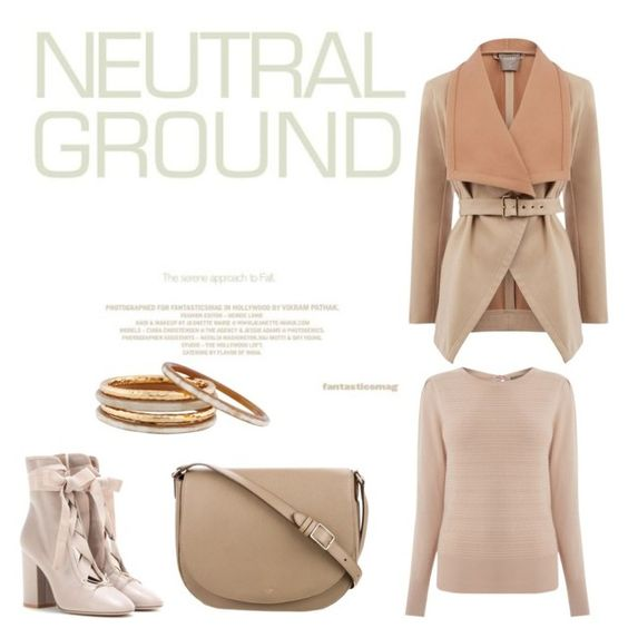 """I love going Neutral"" by fashionloverfoodie ❤ liked on Polyvore featuring Valentino, Oasis, CÉLINE and Nest"