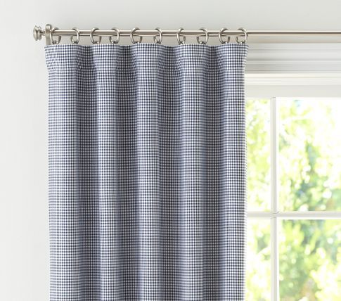 I broke down and bought these blue gingham curtains for the ...