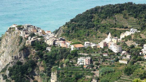 Approaching Corniglia from the hill walk from Manarola -Cinque Terre. Not what we  would have chosen to do, BUT well worth the effort