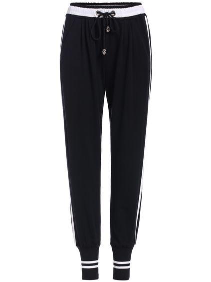 Black Drawstring Waist Striped Pant