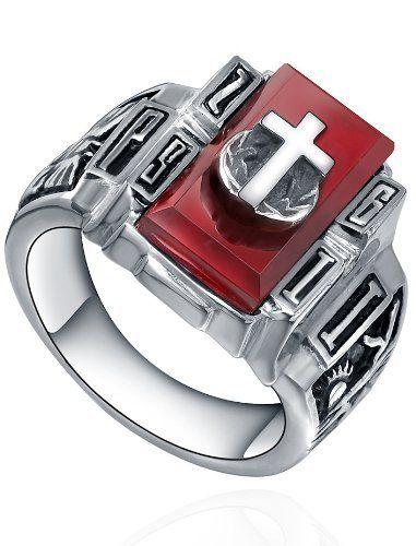 Arco Iris Jewelry – Joya hecha de acero inoxidable Anillo con Cruz – detalle rojo