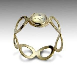 Wedding band  14k yellow gold ring with Opalite  by artisanlook, $388.00