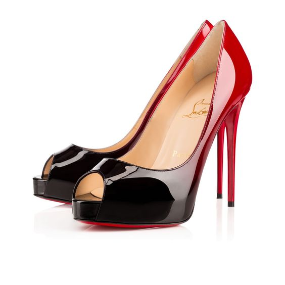 replica men shoes - Christian Louboutin New Very Prive with Black/Red Degrade Patent ...