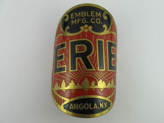 VINTAGE ERIE ANGOLA, NEW YORK BICYCLE HEAD BADGE