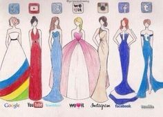 Social media dresses -------- The sad part is I saw Gizelle, Mulan, Merida, Sleeping Beauty, Belle, Ariel, as Elsa.....