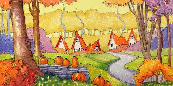"Peinture ""Welcome an October Morning"" par Alida Akers (série Storybook Cottage)"