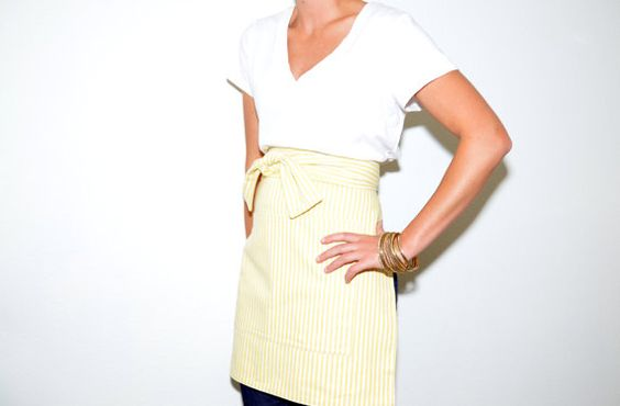 Yellow Stripes Bistro Apron in Cotton for Server Chef Baker Domestic Goddess Baking Princess on Etsy, $42.00