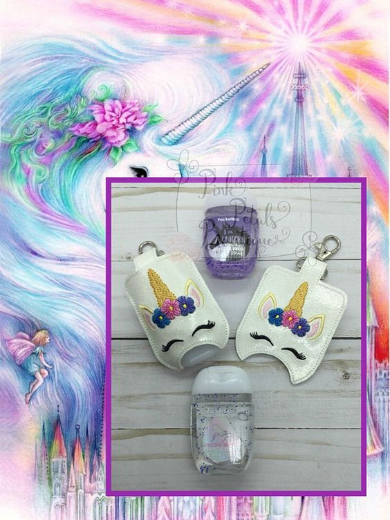 Unicorn Face Hand Sanitizer Holder Fits 1 Oz Babw Sanitizer