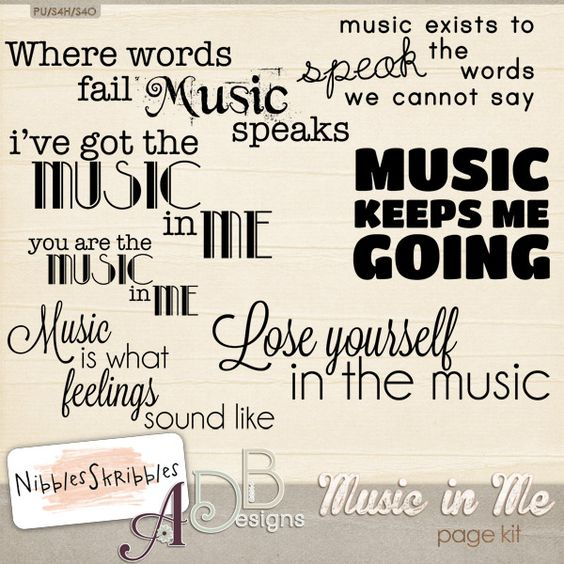 Music In Me Word Art by #ADBDesigns & #NibblesSkribbles Fabulous wordart for your pages.  #thestudio #digitalscrapbooking