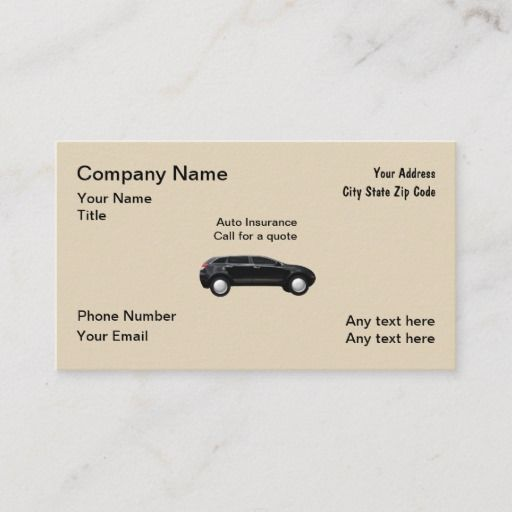 Auto Insurance Agent Business Card Zazzle Com Insurance Agent