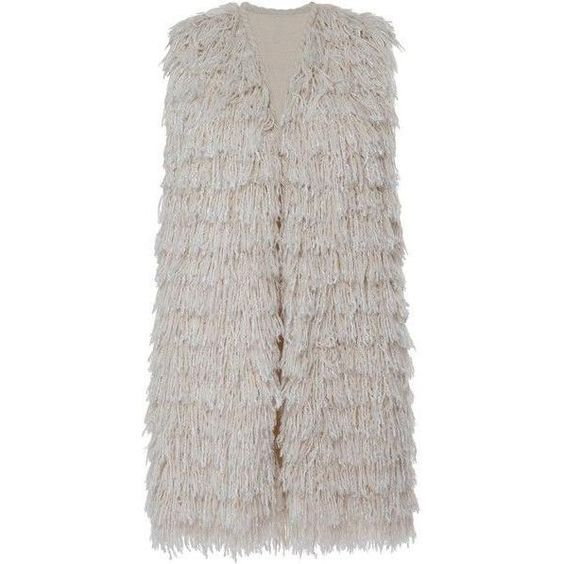 Isabel Marant Summer Fur Alfie Gilet in Ecru as seen on Rosie Huntington-Whiteley