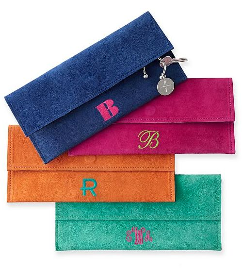 bright suede envelope clutches