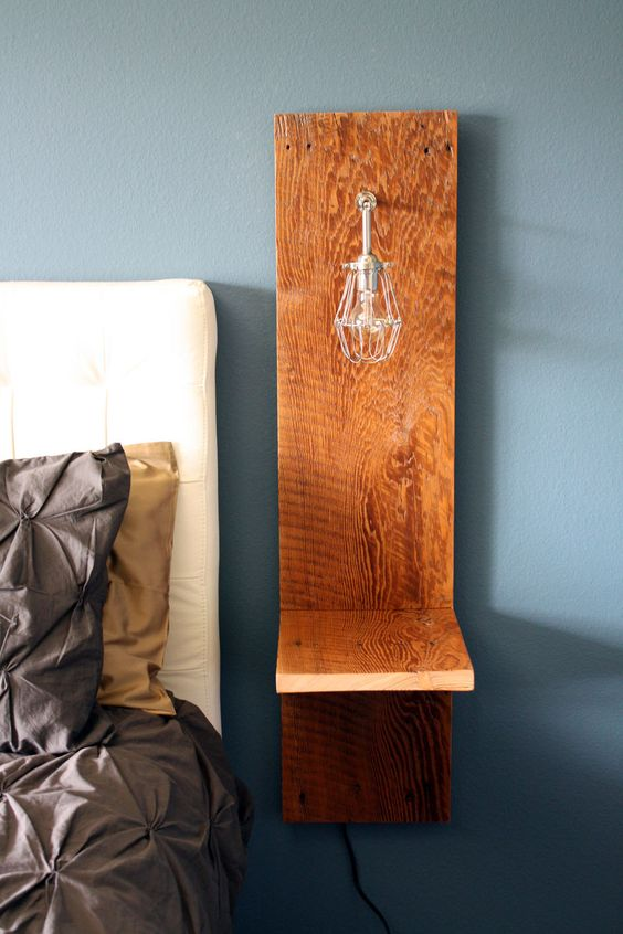 wall mounted nighstand reclaimed wood industrial cage lamp recycled. Black Bedroom Furniture Sets. Home Design Ideas