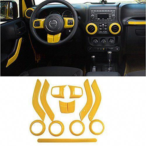 Opall Full Set Interior Decoration Trim Kit Steering Wheel Center Console Air Outlet Trim Door Handle Cover Inner Passenger Seat Handle Trim For Jeep Wrangl Jeep Wrangler Jk Jeep Wrangler