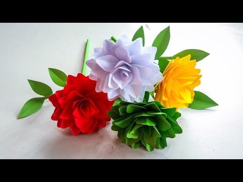 Beautiful Flowers Making With Paper Diy Paper Flowers Making Home Decor Paper Craft Youtube In 2021 Paper Flowers Paper Flowers Diy Flower Making