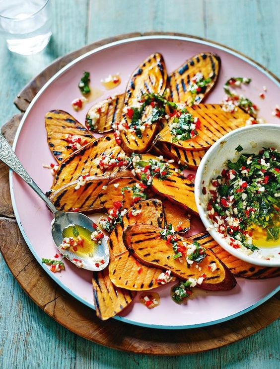Griddled Sweet Potatoes with Mint, Chilli and Smoked Garlic from Shelina Permalloo's The Sunshine Diet cookbook.: