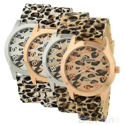 Casual Sexy Women Girls Ladies Geneva Leopard Jelly Silicone Quartz Wrist Watch Watches For Christmas gift € 2,16
