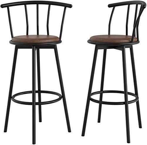 Amazing Offer On Ironck Bar Stools Set 2 Swivel Bar Stools Backs