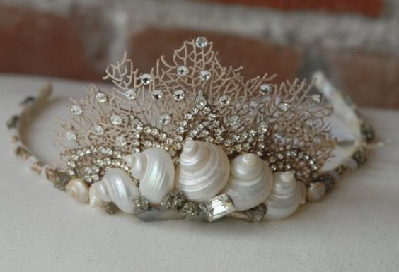 Seashell and Coral Crown Tiara w\/ Rhinestone Bling for Beach Wedding Prom Sweet…: